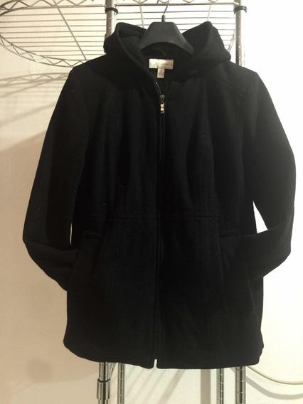 Abrigo Negro De Lana Con Gorro Y Cierre