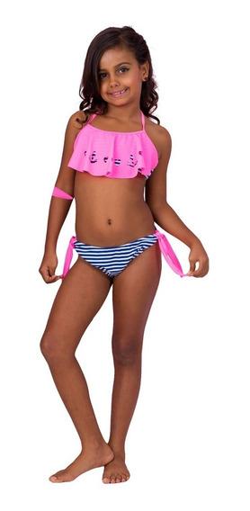 Biquini Pupi Baby Infantil Listrado Navy Rosa Azul Marinho