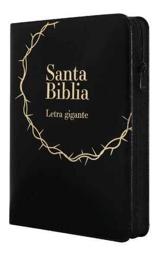 Biblia Letra Gigante Lujo Negra Y Cierre Reina Valera 1960