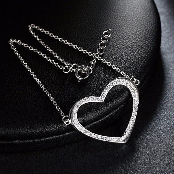 Pulseira Feminina Folheada Ouro 18k Coração Cristal Joia 17