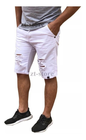 Kit 2 Bermudas Shorts Jeans Rasgadas Destroyed Black Friday