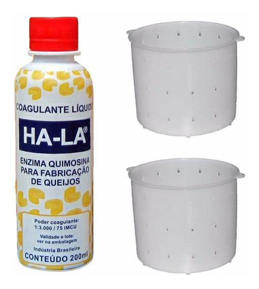 Coalho Líquido Ha-la 200ml Coagulante Queijo + 2 Formas 1kg