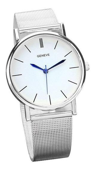 Relógio Feminino Geneva Original Prata Luxo Aço Inoxidável