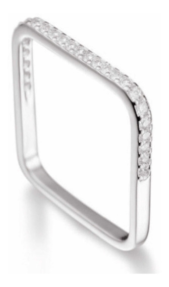 Anel Quadrado Xuxa Prata 950 Com Pedras De Zircônia Cristal
