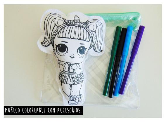 Muñeco Coloreable Con Cartuchera Y Fibras (frente Y Espalda)