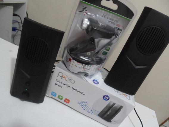 Caixa De Som Multimídia Sp-822 + Webcam Knup 16.0m Pixels