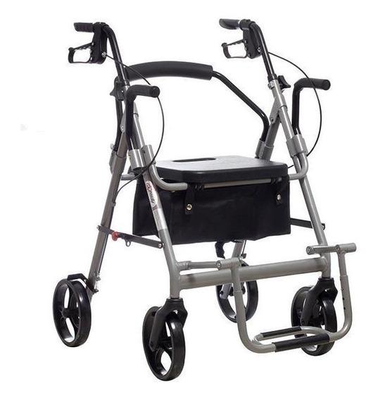 Andadera Rollator / Silla De Traslado De Aluminio 136 Kg - S