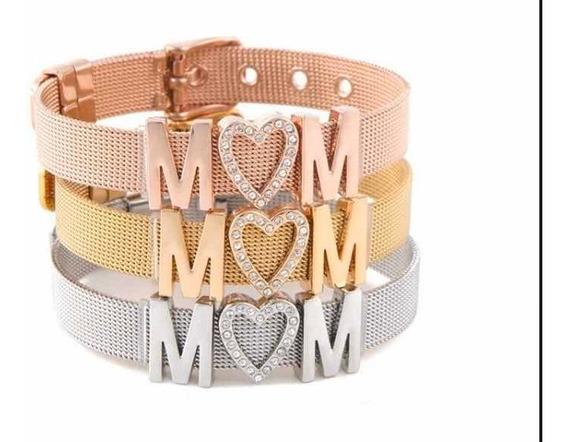 Brazalete Mom Pulsera Regalo Mamá Acero Inox Día De Madres