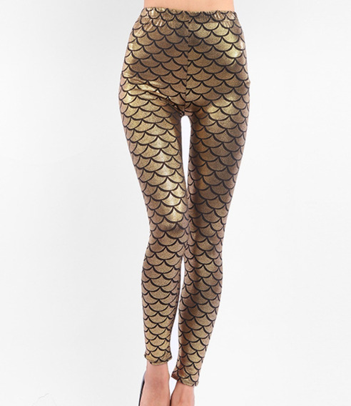 Leggins Metalico Estilo Sirena Brilloso Pantalones Mujer