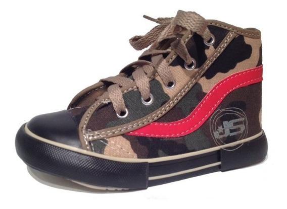 Botitas Zapatillas De Lona Con Cordon Camufladas 17-26