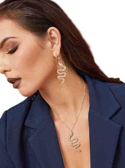 Set Collar + Aretes Con Diseño D Serpiente Cristal Swarovski