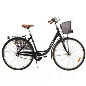 Bicicleta Com Cesto Urbana Retro Tropix Kayoba Vintage Preta