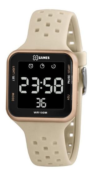 Relógio Feminino Digital Quadrado Rose E Bege X-games +nf