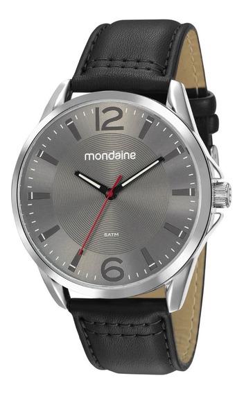 Relógio Mondaine Masculino Analógico Couro Visor Cinza