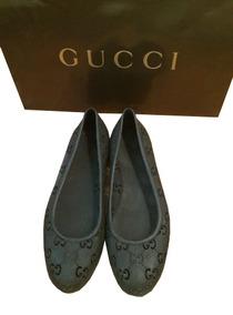 Hermosos Flats Gucci Jelly Signature Negros 100% Originales!