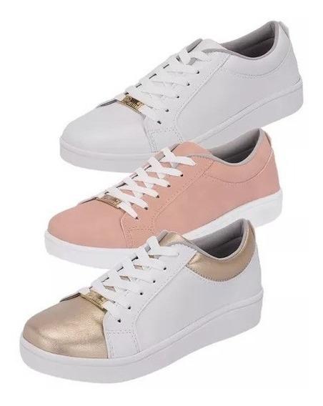Kit 3 Pares De Tênis Feminino Casual Branco/rosa/dourado