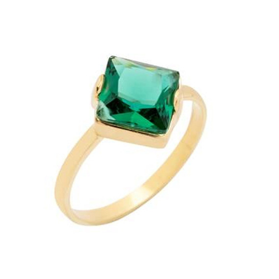 Anel Cristal Esmeralda Solitário Banhado A Ouro 18k Aro 16