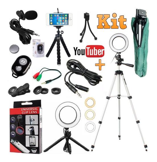 Kit Youtuber Lapela Celular Tripé 1,30m Luz Ring Light Flash Iluminador Led Portátil Profissional 16cm Microfone Lentes