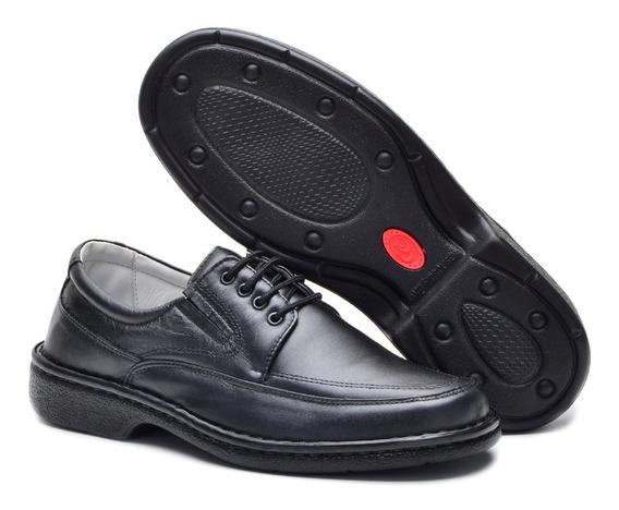 Sapato Social Masculino Ortopédico Esporte Fino Preto 1004