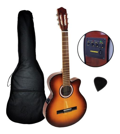 Guitarra Electroacustica Media Caja Nylon Afinador Fishman