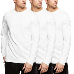 Kit 3 Blusas Masculinas Manga Longa Camiseta Básica Frio