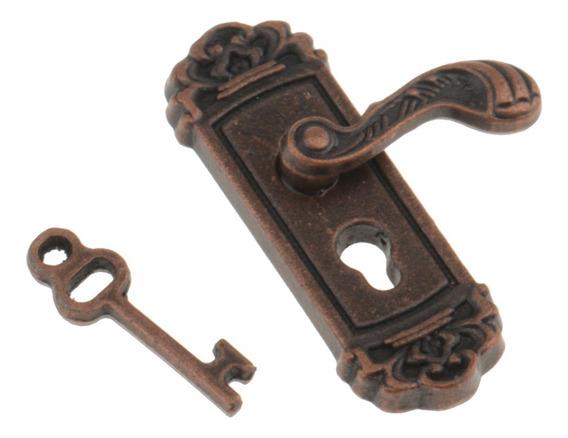Escala 1:12 Maçaneta Da Porta Chave Direita Casa De Bonecas