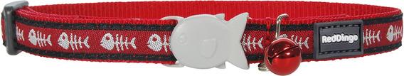 Red Dingo Designer Cat Collar, Fishbone Red