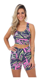 Kit 5 Conjuntos Top Cropped + Short Moda Fitness Atacado Re.