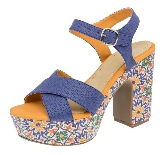 Sandalia Casual Dama Azul Rey Multicolor Tacon