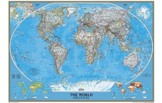 Mapa Do Mundo Hd 63x90cm Decorativo Parede Papel Fotográfico