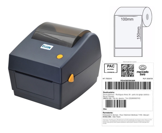 Impressora De Etiquetas Elgin L42dt + 4 Rolos Etiq 100x150