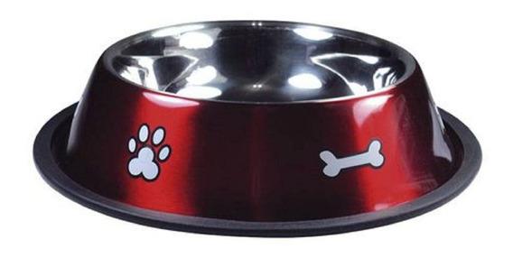 Comedouro Aço Inox Vermelho Para Cães Médio E Grande