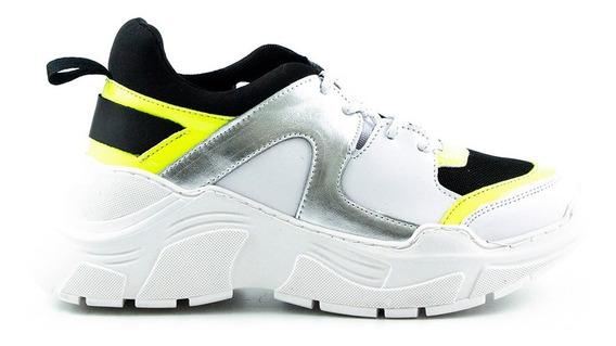 Trender Tenis Color Blanco Con Detalles En Plata Espejo