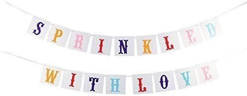 Imagen 1 de 4 de Vanvene Espolvoreado Con Amor Banner Para Baby Shower Banqu