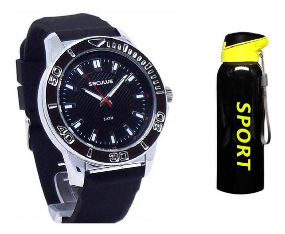 Relógio Seculus Masculino Analógico + Squeeze Inox 450ml
