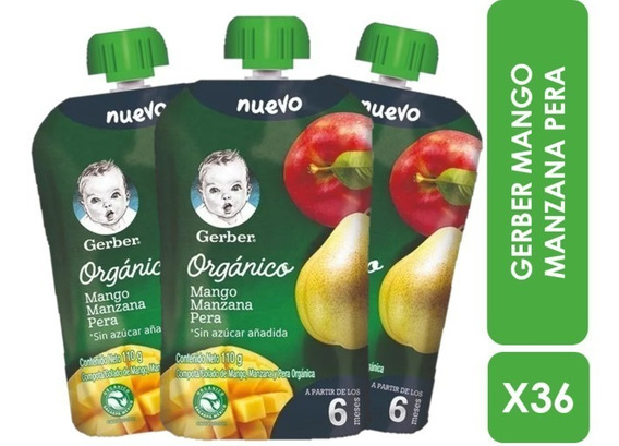 Colado Orgánico Gerber® Mango, Manzana, Pera X36 Pouches