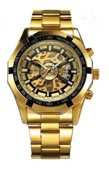 Relógio Masculino Forsining 188 Automático Dourado Aço Inox