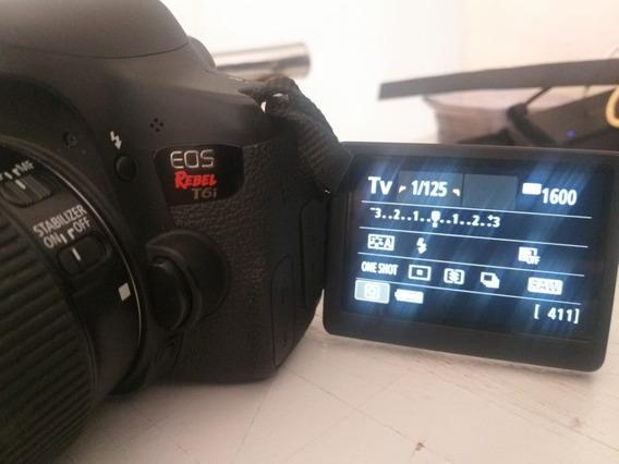 Canon T6i Usada + Flash + Pilhas + 2 Baterias + Cart Memória