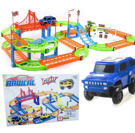 Pista Track Racer Infantil Tipo Hotwheels Carrinho E Adesivo