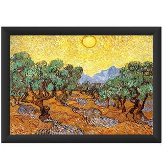 Quadro Van Gogh Oliveiras Com Céu Amarelo Sol Decorar Sala