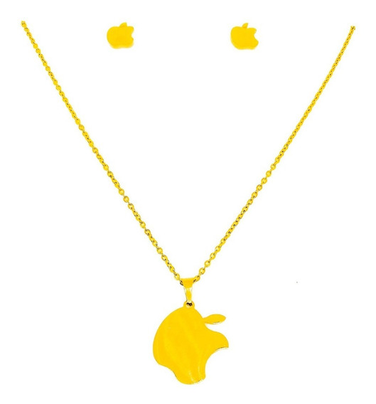 Collar Con Dije Y Aretes Estilo Apple + Envio Gratis