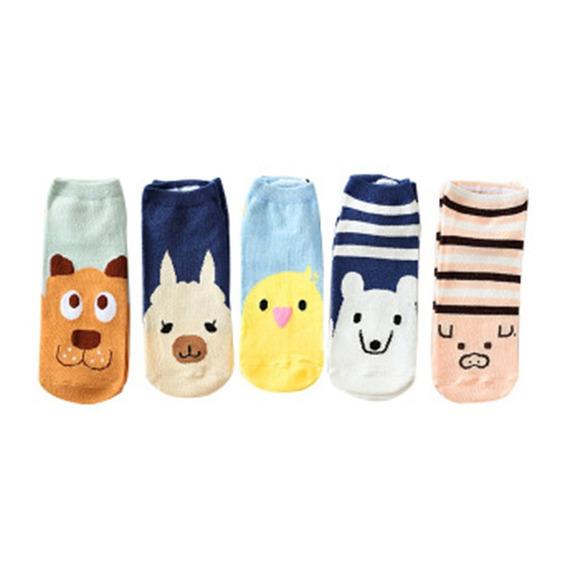 5 Pares / Set Tobillo Calcetines Zapatillas Mujeres Delgadas