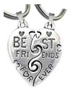 Corrente Best Friends Forever Cara Metade Pingentes Bff