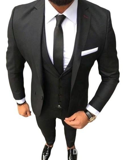 Terno Oxford Slim Masculino - Calça+paletó+colete+barato