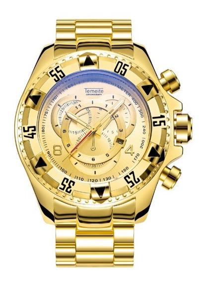 Relógio Masculino Dourado Funk Ostentação Pulso
