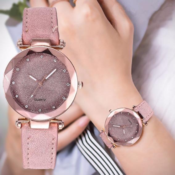 Reloj De Pulsera Dama Casual Corte Diamante Glitter Colores
