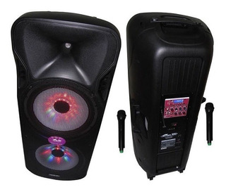 Bafle Portatil Mp3 Columna 2x15 Bateria Bt 600w 2 Mic Out