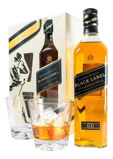Whisky Johnnie Walker Black Label Negro + 2 Vasos. Sufin
