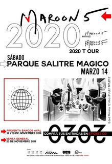 2 Boletas Platino Maroon 5 Bogotá 2020