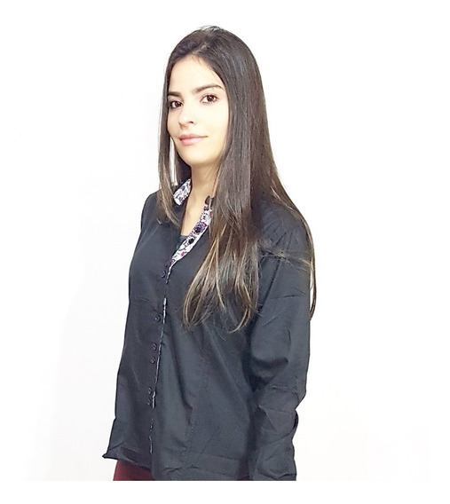 Kit 3 Camisa Social Feminina Slim Fit Do 36 Ao 48